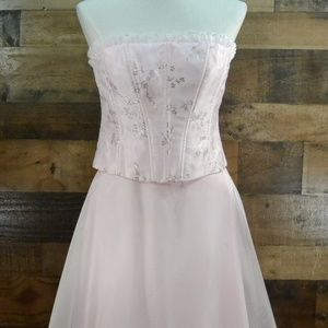Blondie Nites Prom Dress Pink Crystals Lace Up S11